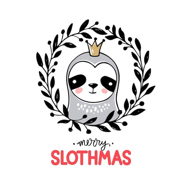 Linda princesa sloth, tarjeta de felicitación de feliz navidad. Vector Premium
