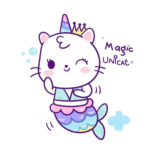 Linda sirena gato en estilo de dibujos animados de unicornio doodle Vector Premium