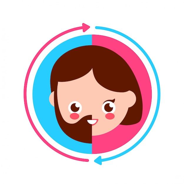 Linda sonrisa feliz mitad hombre y mitad mujer cara y círculo flecha Vector Premium