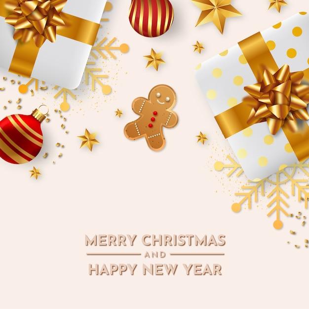 Linda tarjeta de navidad con fondo realista de decoración navideña vector gratuito