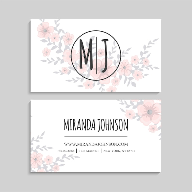 Linda tarjeta de visita con hermosas flores rosas claras vector gratuito