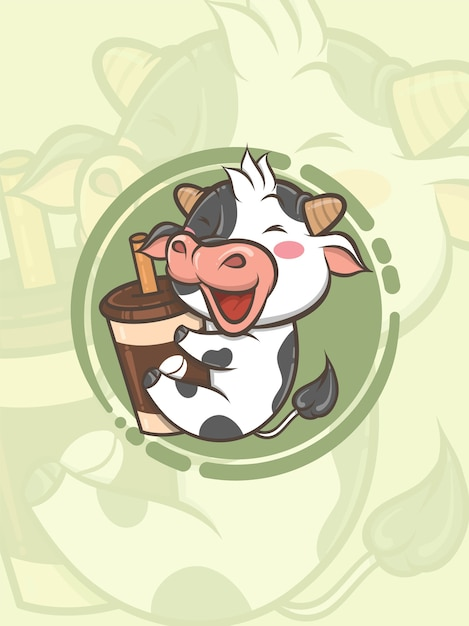 Linda vaca abrazando la taza de café - personaje de dibujos animados e ilustración de logotipo Vector Premium
