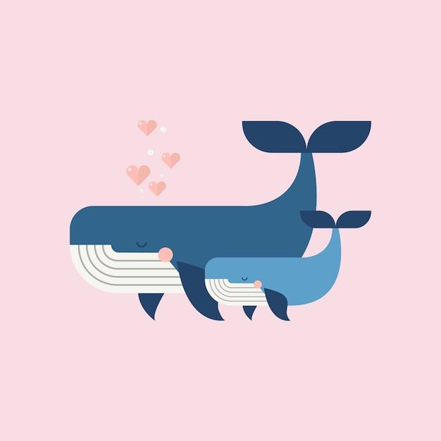 Lindas ballenas feliz dia de las madres Vector Premium