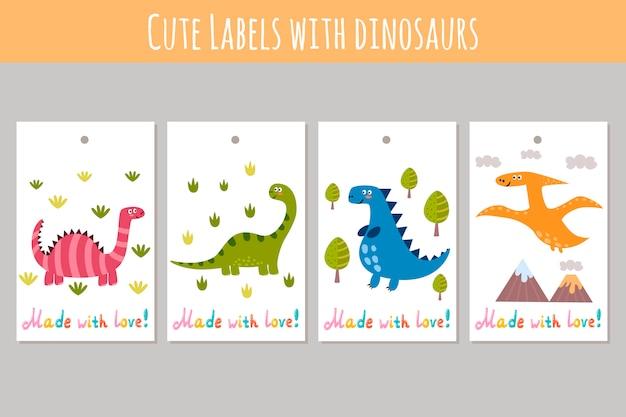 Lindas etiquetas con divertidos dinosaurios. hecho con pegatinas de amor. Vector Premium