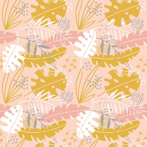 Lindas flores abstractas de patrones sin fisuras con hojas de palma dibujadas a mano. invitación de ilustración escandinava, cuaderno, pancarta, papel de envolver, textiles, cubierta, postal, interior, moda Vector Premium
