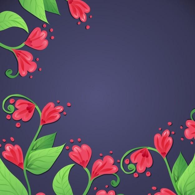 Lindas Flores Rojas Sobre Un Fondo Azul Descargar Vectores Gratis