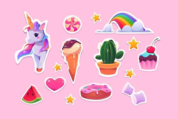 Lindas pegatinas para niñas de dibujos animados de unicornio, helado, arco iris y corazón rosa vector gratuito