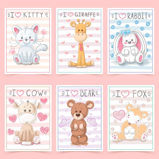Lindas tarjetas de felicitación para niños con animales Vector Premium