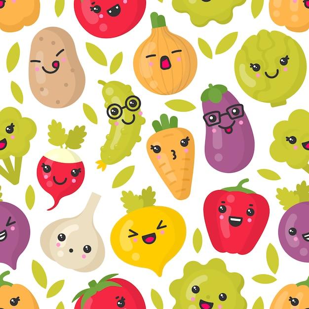 Lindas verduras sonrientes, patrones sin fisuras en blanco Vector Premium