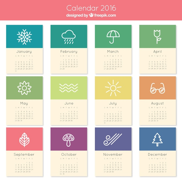 Cute Calendar January 2016 : Lindo calendario descargar vectores gratis
