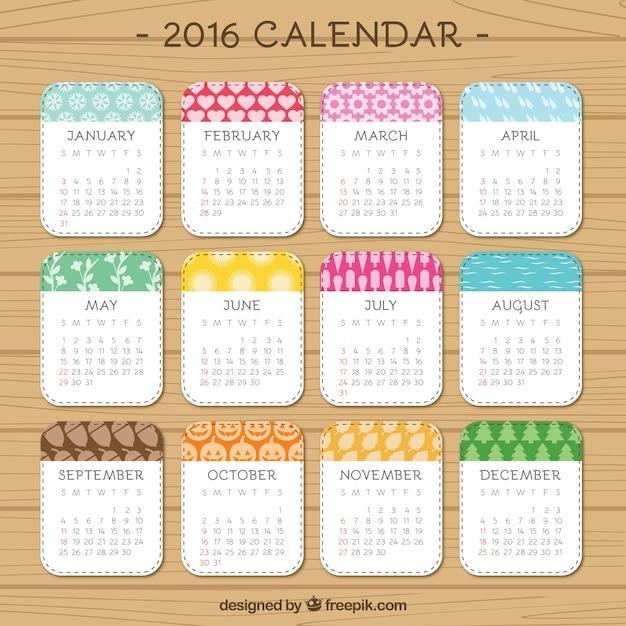 lindo 2016 del calendario Vector Gratis
