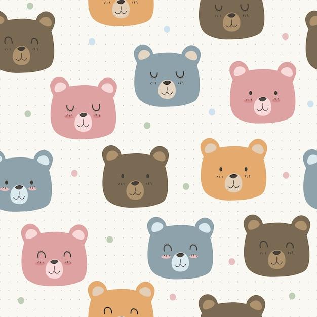 Lindo adorable oso gracioso dibujos animados de patrones sin fisuras ...