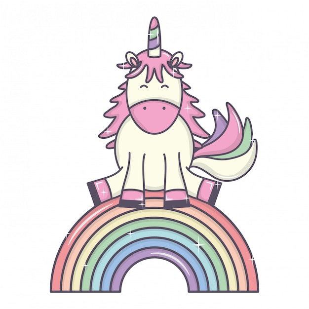 Lindo adorable unicornio y arcoiris vector gratuito