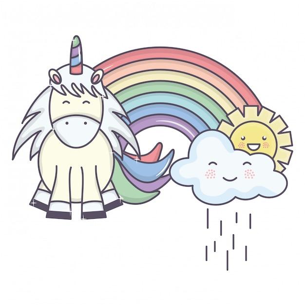 Lindo adorable unicornio con nubes lluviosas y arcoiris vector gratuito