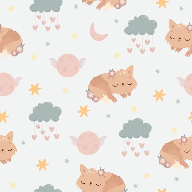 Lindo animal durmiendo de patrones sin fisuras vector gratuito