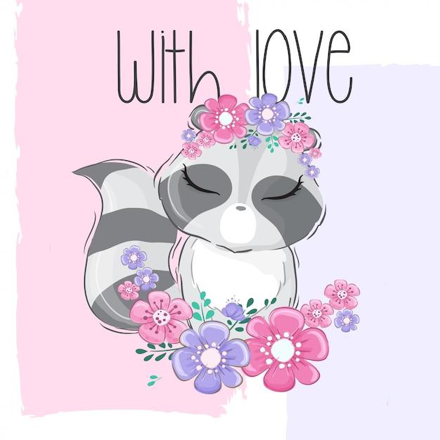Lindo animal mapache con flor de borde Vector Premium