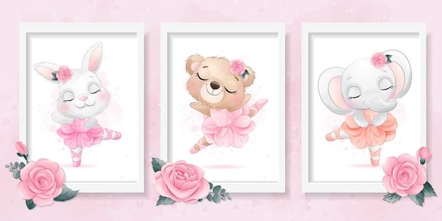 Lindo animalito con ilustración de efecto de bailarina Vector Premium