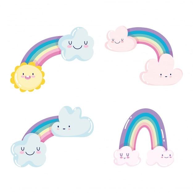 Lindo arco iris nubes sol clima cielo dibujos animados decoración vector ilustración Vector Premium