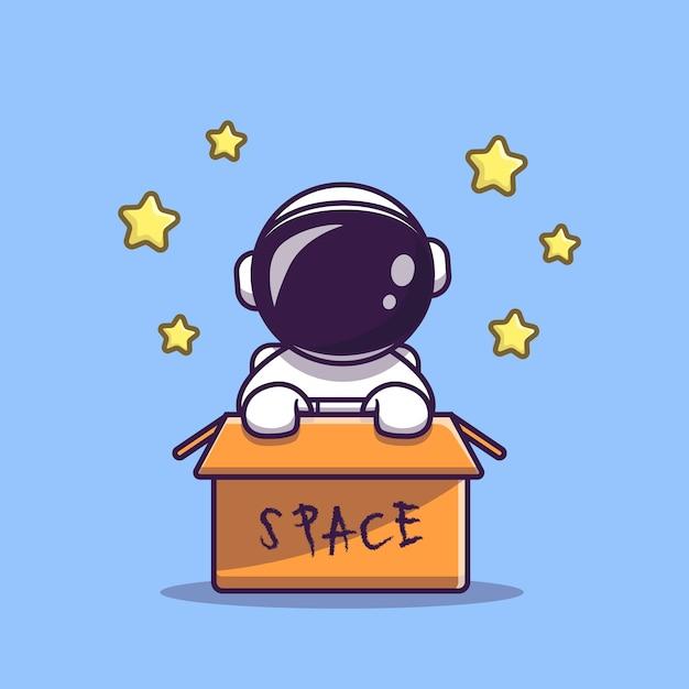 Lindo astronauta en caja de dibujos animados vector icono ilustración. icono de tecnología de ciencia vector gratuito