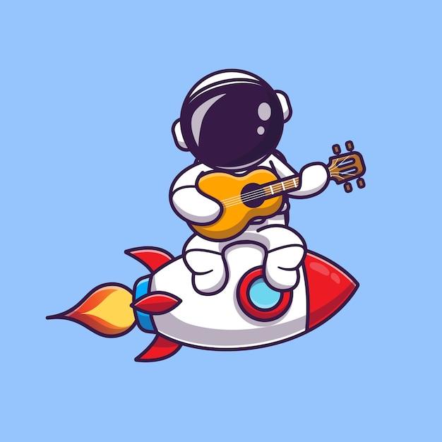 Lindo astronauta tocando la guitarra en la ilustración del icono de dibujos animados de cohetes. concepto de icono de música de ciencia Vector Premium
