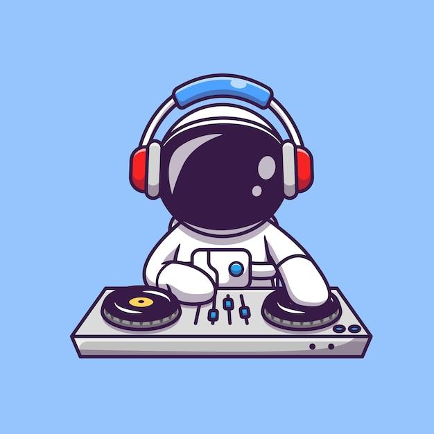 Lindo astronauta tocando música electrónica de dj con ilustración de icono de dibujos animados de auriculares. concepto de icono de tecnología de ciencia vector gratuito
