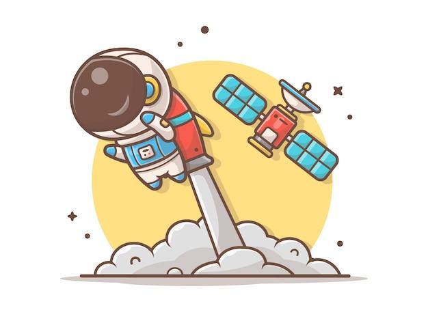 Lindo astronauta volando con cohete y satélite ilustración Vector Premium