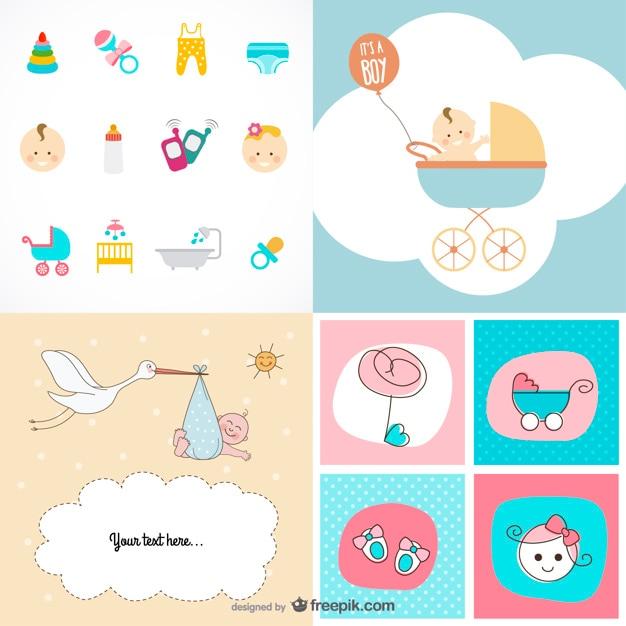 Lindo bebé artículos tema vector de material vector gratuito
