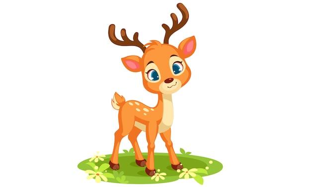 Lindo bebé ciervo mirando ilustración vectorial frontal vector gratuito