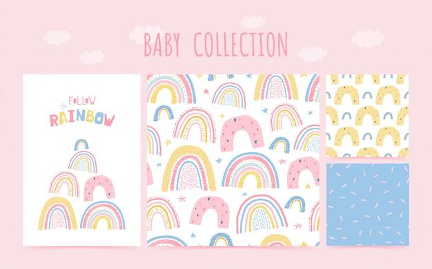 Lindo bebé colección de patrones sin fisuras con el arco iris y el cartel de letras siga el arco iris. fondo en estilo dibujado a mano para el diseño de la habitación infantil. ilustración Vector Premium
