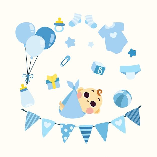 Lindo bebé ducha ilustración niño Vector Premium