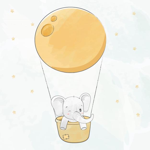 Lindo bebé elefante en una canasta y super luna agua color dibujos animados dibujados a mano Vector Premium