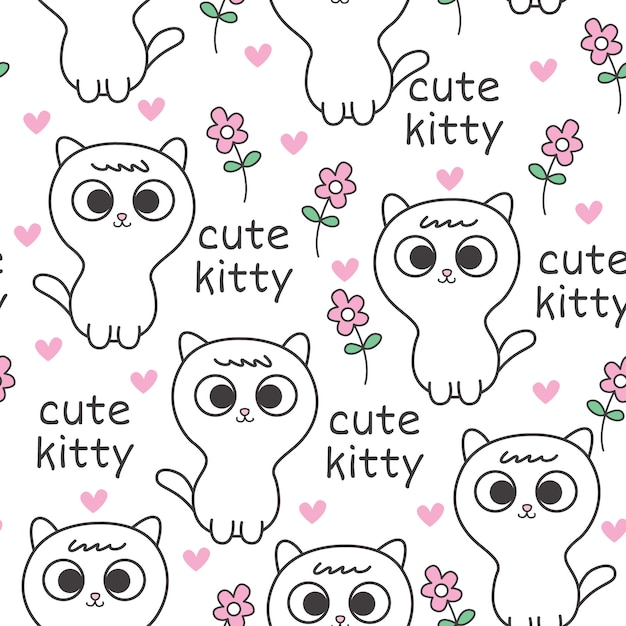 Lindo bebé gato de patrones sin fisuras | Descargar Vectores Premium