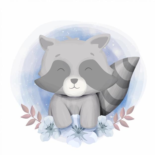 Lindo bebé mapache sonrisa retrato ilustración Vector Premium