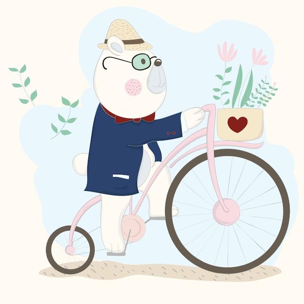 El lindo bebé oso en bicicleta Vector Premium