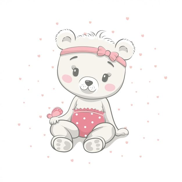 Lindo Bebe Oso De Dibujos Animados Ilustracion Vectorial
