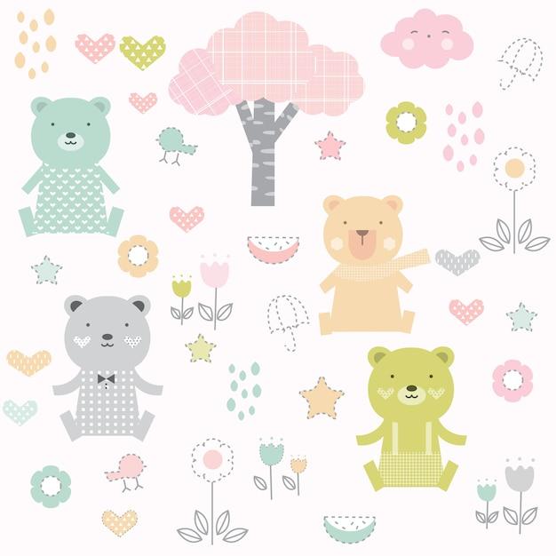 Lindo bebé oso de patrones sin fisuras | Descargar Vectores Premium