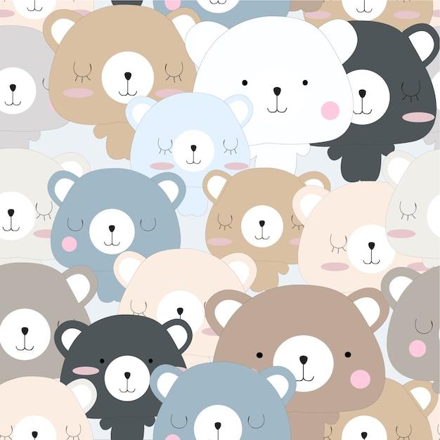 Lindo bebé oso de peluche de dibujos animados de patrones sin ...