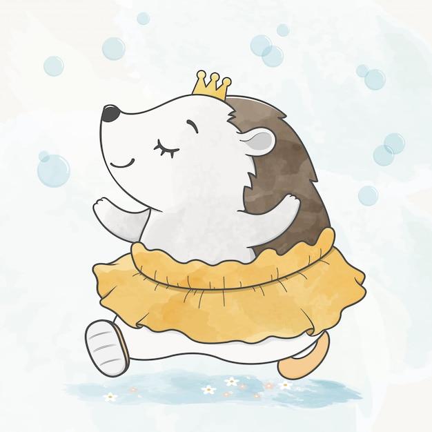 Lindo bebé puercoespín bailando con burbuja de aire color de agua dibujado a mano de dibujos animados Vector Premium