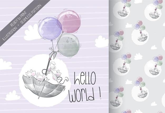 Lindo bebé ratón volando con paraguas de patrones sin fisuras Vector Premium