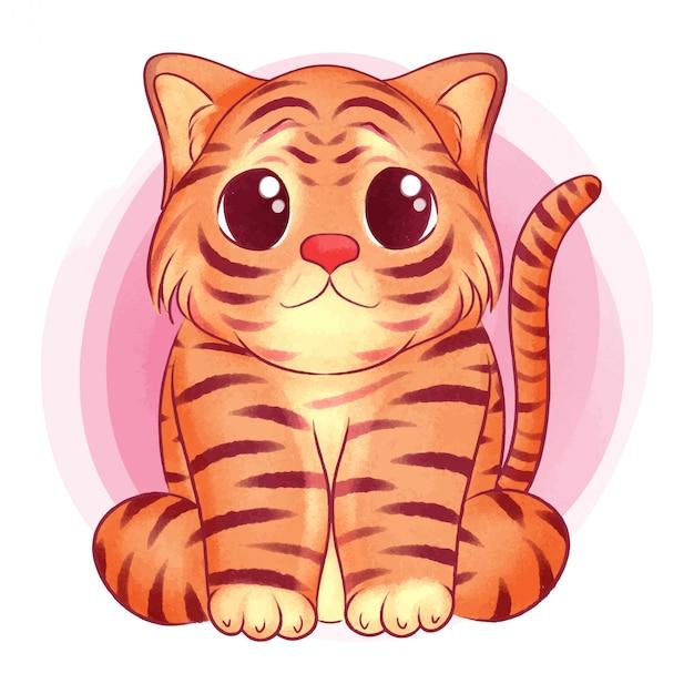 Lindo bebé tigre acuarela ilustración Vector Premium
