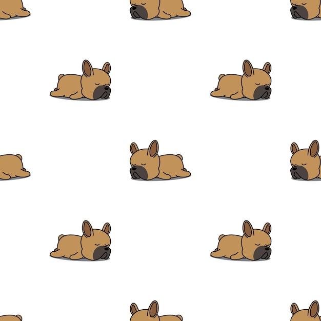 Lindo cachorro de bulldog francés durmiendo de patrones sin fisuras ...