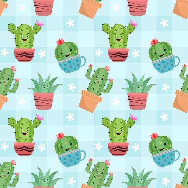 Lindo cactus en macetas de patrones sin fisuras. Vector Premium