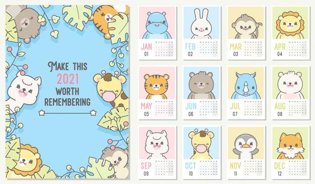 Lindo calendario 2021. calendario planificador anual con todos los meses. Vector Premium