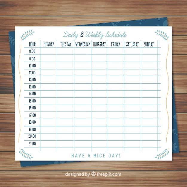 Lindo calendario planificador semanal descargar vectores for Horario naviera armas oficinas