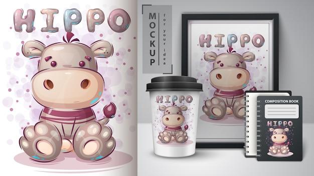 Lindo cartel de hipopótamo de peluche y merchandising. vector gratuito