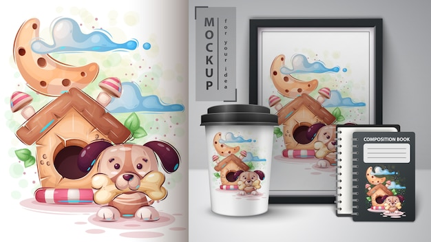 Lindo cartel de perro de la casa y merchandising. Vector Premium