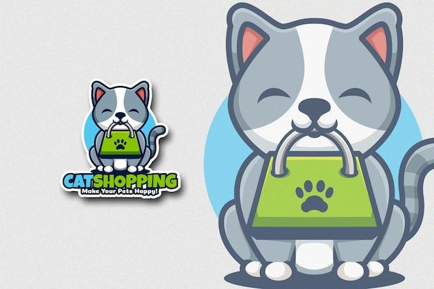 Lindo cartón de gato que tiene bolsa de compras en la boca Vector Premium