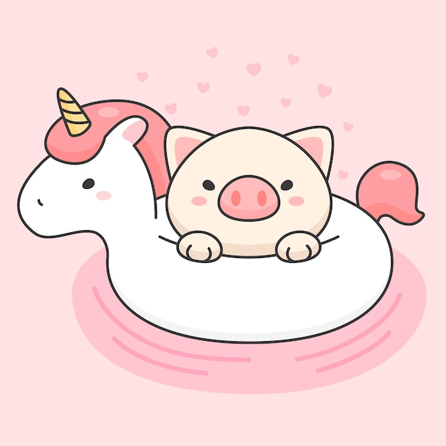Lindo cerdo en un anillo de vida de unicornio Vector Premium