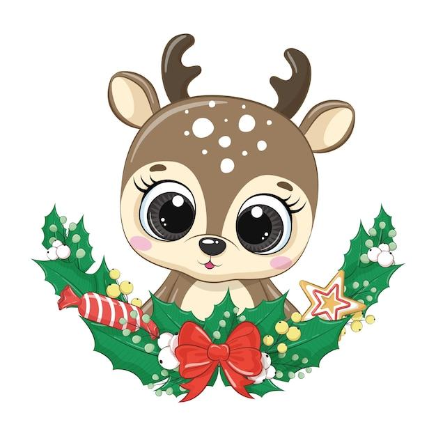 Lindo ciervo con corona de navidad. Vector Premium