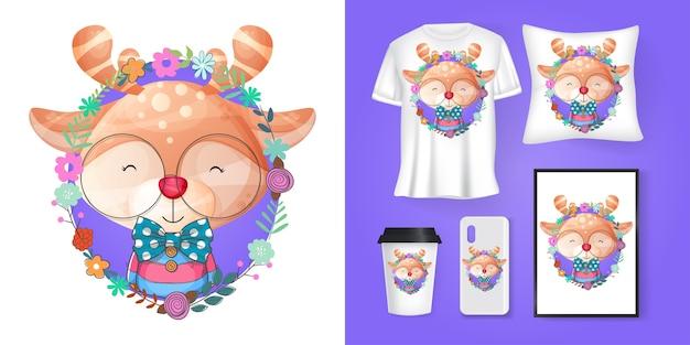 Lindo ciervo con dibujos animados de flores y merchandising Vector Premium